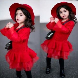 Other - Beautiful Sweater cable knit tulle Red dress ❤️
